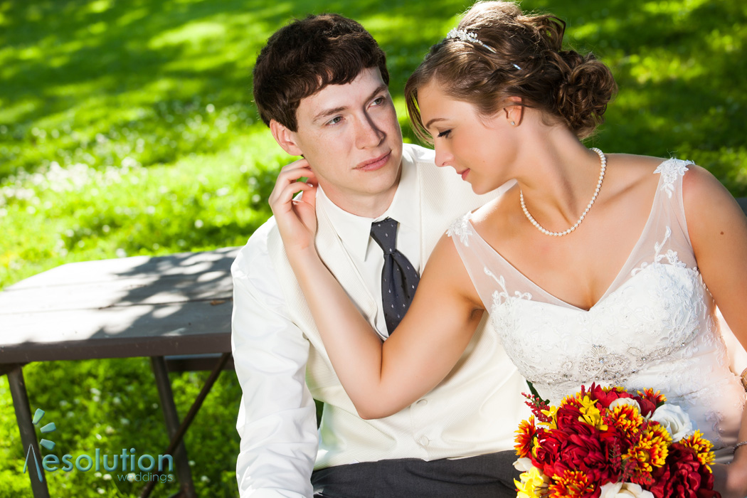 Romantic park wedding pictures